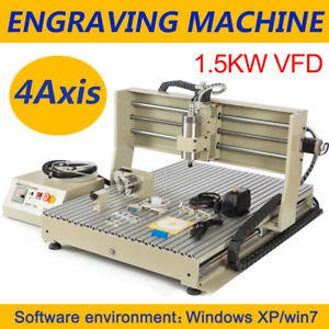 4axis 6090 1 5kw Vfd Cnc Router Engraver Milling Drilling Machine Usb Port Mach3
