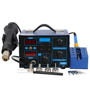 862d 2in1 Dc Power Supply Smd Rework Station Soldering Hot Air Gun Led 110v