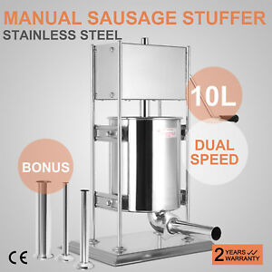 10l Vertical Commercial Sausage Stuffer 23lb 2 Speed Stainless Steel Meat Press