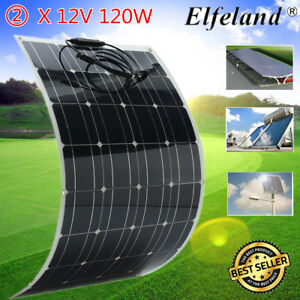 2x 120w 18v Flexible Solar Panel Battery Charger For 12v Motorhome Boats Roof Rv