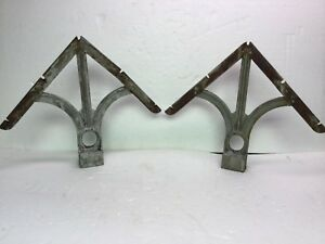 2 Vintage Fence Post Topper Double Barb Wire Arms Cast Iron Steel Usa Made
