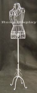 Female Metal Wire Dress Form White Adjustable Height Frame Display Stand Antique