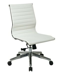 Mid back Armless White Ribbed Upholstered Leather Swivel Conference Chair