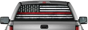 Red Thin Line American Flag Perforated Vinyl Decal Truck Rear Window Sticker Usa