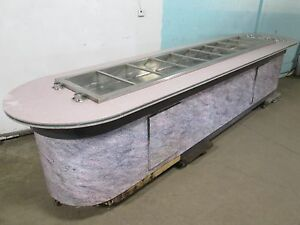 custom Built Commercial 9 Wells hot Buffet Table W 2 X 9 Plate Dispensers