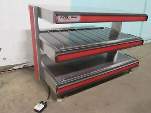apw Wyott Commercial Counter Top Ss 2 Tier Heated Lighted Display Merchandiser