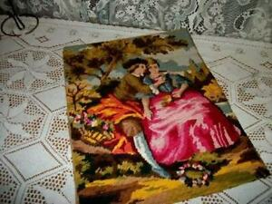 French Needlepoint Romantic Couple Tapestry Shabby Chic Made In France Paris Apt