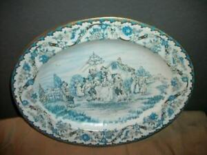 Vintage Blue White Tin Plate May Day Thatched Cottage Shabby Faded Chic England