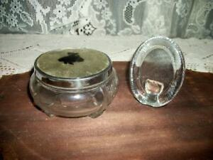 30s Art Deco Chic Silhouette Glass Powder Jar Chunky Glass Vanity Frame Shabby