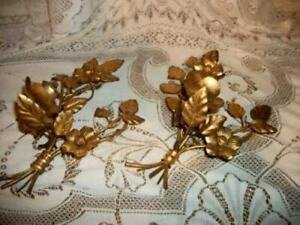 Italian Tole Gilt Wild Rose Candle Sconces Shabby French Chic Hollywood Regency