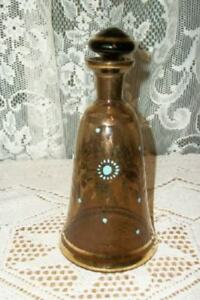 Vintage Hp Bohemian Art Glass Perfume Bottle Shabby Hollywood Regency Chic Rare