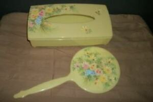 Hp Tole Floral Bath Vanity Set Tissue Box Mirror Chic Shabby Yellow Lucite Mcm