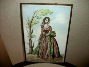 Antique French Godey Lady Fashion Hp Ceramic Tile Framed English Chic Shabby