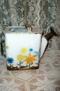 Shabby Chic Rusty Vintage English Watering Can Floral Garden Shed Cottage Cool
