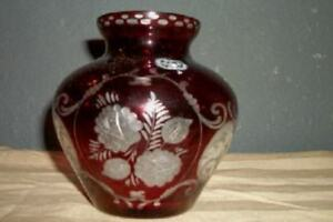 Antique Czech Bohemian Vase Ruby Cut To Clear Etched Glass Paris Apt Chic Shabby