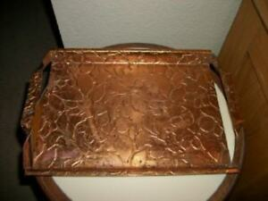 Vintage Copper Tooled Floral Tray Leather Look Prairie Chic Shabby Handles