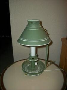 Vintage Tole Lamp Chamberstick Thumb Hold Footed Green Brass Chic Shabby