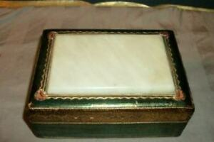 Italian Florentine Wood Celluloid Box Gilt Satin Lined Paris Apt Mid Century