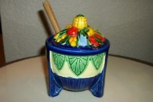 Art Deco Majolica Jelly Jam Jar Cobalt Ornate Japan Vintage Chic Shabby Cottage
