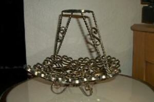 French Scrolly Iron Spanish Revival Basket Original Paint Chic Shabby Cottage