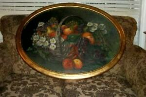 Italian Florentine Gilt Wood Frame Oil Painting Fruit Basket Mid Century Huge