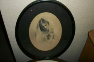 Antique Sepia Mother Baby Print Black Wood Oval Frame Chic Shabby Cottage