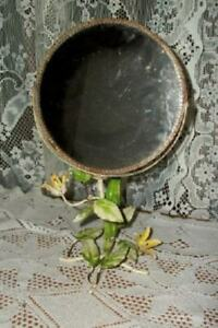 Italian Tole Swivel Vanity Mirror Old Floral Rusty Chippy Shabby Chic Paris Apt