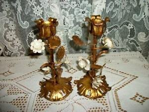 Italian Tole Gilt Candle Holders White Flowers Chic Shabby Paris Apt Mcm Glam