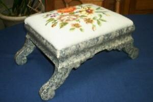 Antique Victorian Walnut Faux Finish Needlepoint Roses Footstool Foot Stool