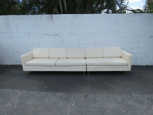 Mid Century Modern Long Two Part Sectional Low Couch Sofa 8962