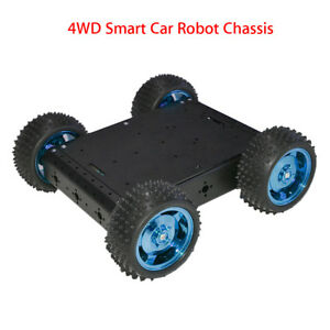 Black 4wd Aluminum Alloy Smart Robot Car Chassis Diy Kit For Arduino Battery Box