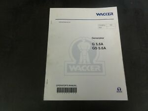 Wacker G5 6a Gs5 6a Generator Operator s Manual