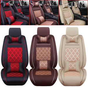5 Seats Cooling Mesh pu Leather Seat Covers Universal Car Front rear Pillows Usa