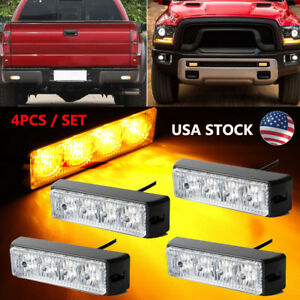 Amber 4x 4 Led Strobe Light Beacon Dash Warning Emergency Side Marker Flashing