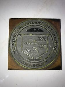 Vintage Type Wood Print Block Letterpress Durham Life Insurance Company Nc