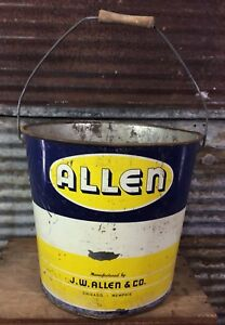 Antique Vtg J W Allen Galvanized Metal Bucket Primitive Farm Decor Wood Handle