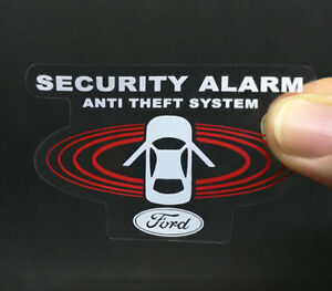 2 Car Alarm Decals For Ford Inside Outside Glass Security System Window Stickers