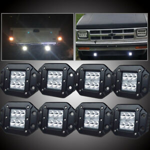 Offroad Atv Front Rear Bumper Backup Reverse Flush Mount Led Lights Fog Lamp X 8