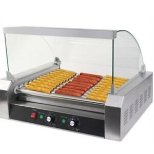 Stainless Steel 30 Hotdog Commercial Hot Dog 11 Roller Grill Cooker Machine Us