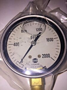 Ametek Us Gauge 2000 Psi Glycerin Liquid Filled Stainless Steel Gauge 1 2 Npt