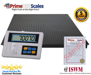 5 X 5 Floor Scale With Label Printer Indicator For Warehouse 10 000 Lb X 1 Lb