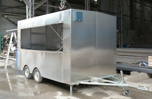 3 5m Stainless Steel Concession Stand Trailer Kitchen 3 Fryers Shipped By Sea