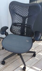 Herman Miller Mirra Chair Lumbar Support Height Adjusts Tilt Tension Used