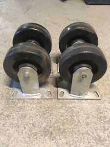 Set Of 4 Good Used Heavy Duty Casters Industrial Rigid Wheel 6 Colson Usa