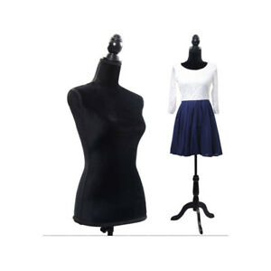 Female Mannequin Torso Dress Form Display W Black Tripod Stand Tailor For Store