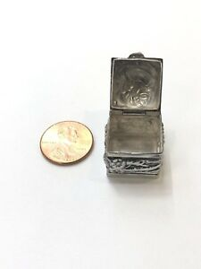 Vintage Made Sterling Silver Trinket Box With Opening Top On Hinge 925