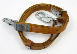 Bashlin Latigo Leather Lineman Pole Safety Strap Climbing Lanyard 7 Foot