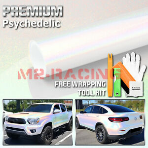 Psychedelic White Gloss Metallic Glossy Rainbow Holographic Vinyl Wrap Sticker
