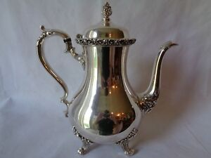 Vintage Wilcox Du Barry Floral Silverplate Coffee Pot 7601 No Monogram