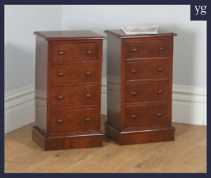Antique Pair 2 Edwardian Burr Walnut Bedsides Chests Pot Cupboards Nightstands
